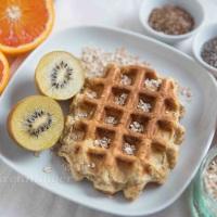 Frühstücks Waffeln mit Leinsamen, Haferflocken und Chia Samen