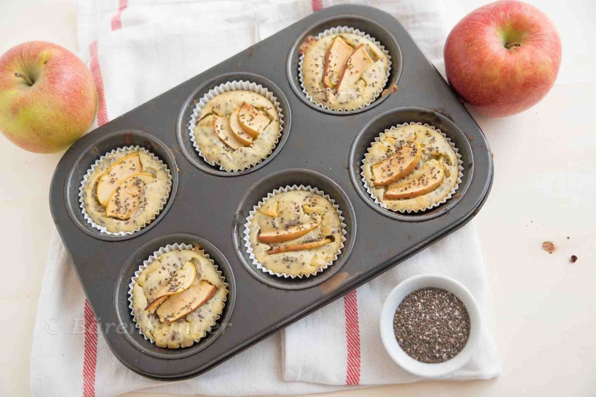 Apfel, Joghurt Chia Muffins