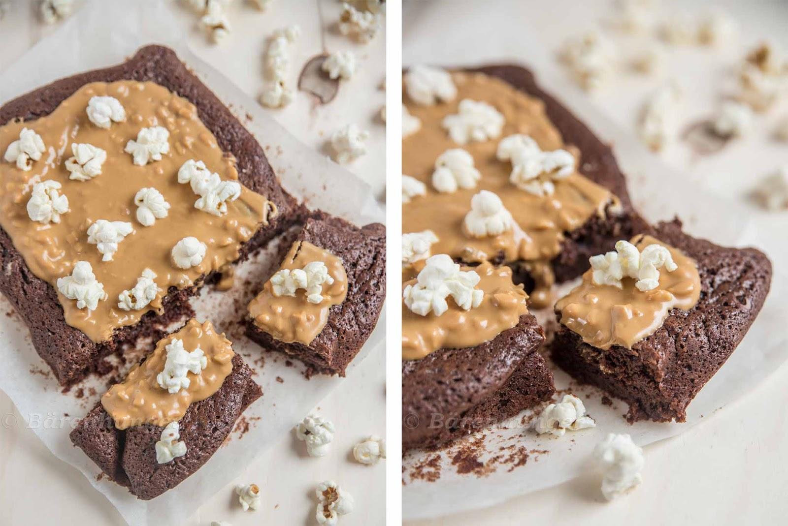 Erdnussbutter Popcorn Brownies