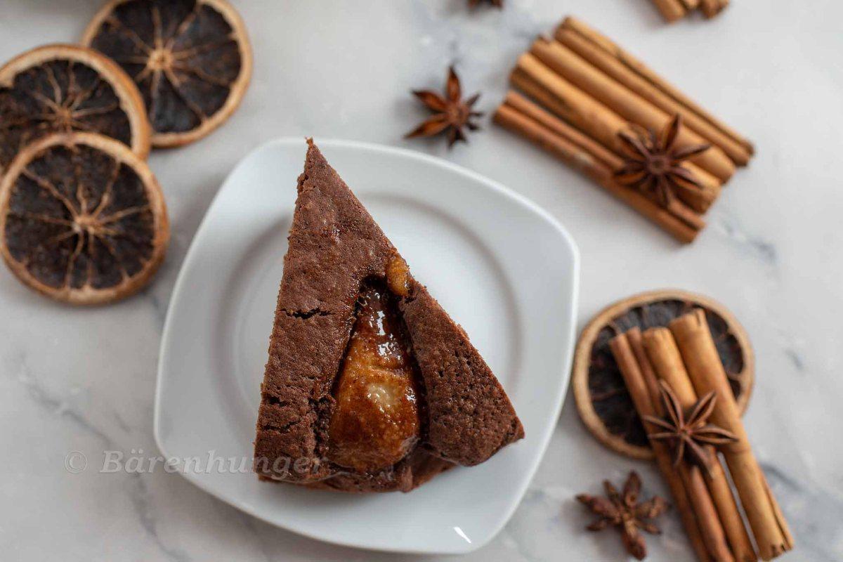 Schoko Mandel Kuchen mit Lebkuchen Birnen