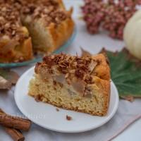 Vanille Birnen Kuchen mit Haferflocken Zimt Kruste